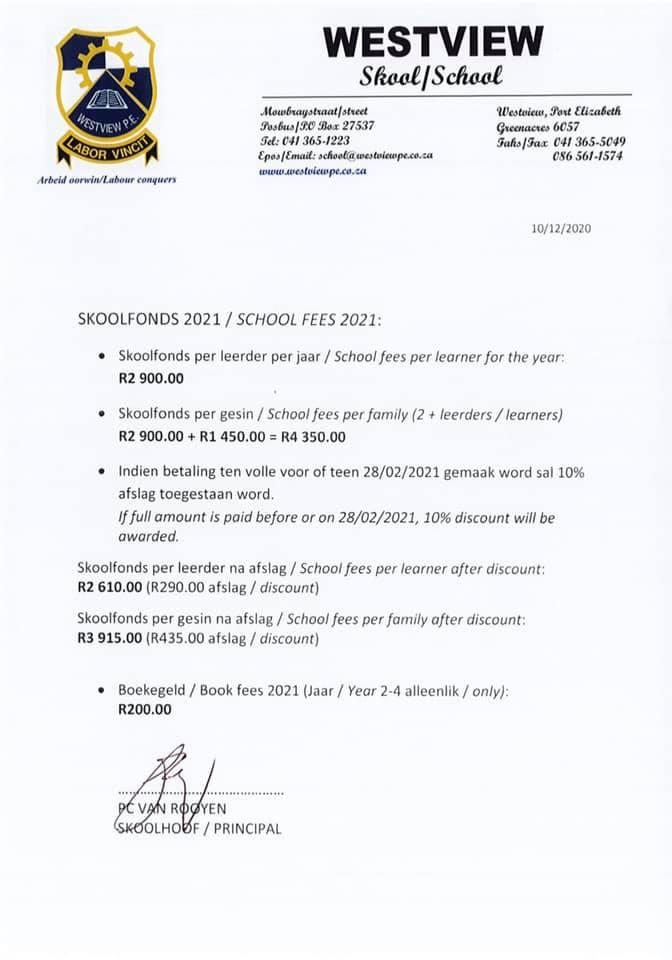 School fees 2021