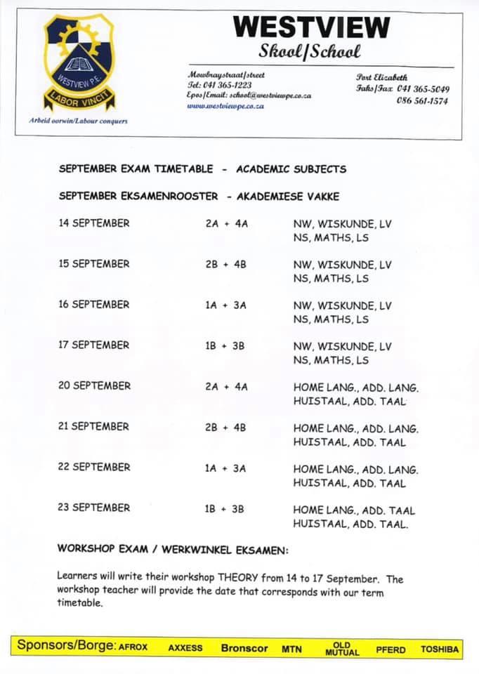 Exam Timetable September 2021
